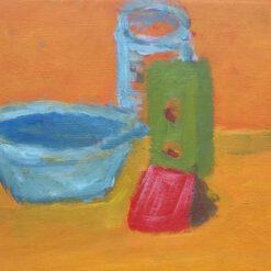 Outsider art galerie Via Lumina Dordrecht. Donne Dijkhorst, stilleven op oranje, acryl op paneel, 15x20