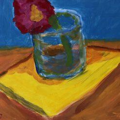 Donne Dijkhorst, stilleven met gele doek, acryl op paneel, 20x25