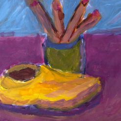 Donne Dijkhorst, stilleven met klomp, acryl op paneel, 20x25