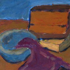 Donne Dijkhorst, stilleven met paarse lap, acryl op doek, 20x25