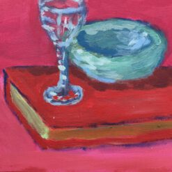Donne Dijkhorst, stilleven met rood boek, acryl op paneel, 20x25