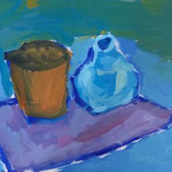 Donne Dijkhorst, stilleven in blauw, acryl op paneel, 23x30