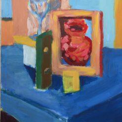 Donne Dijkhorst, de blauwe tafel, acryl op paneeel, 50x40
